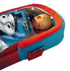 Inflatable Toddler Bed. Who knew they made these? Awesome for those who travel often with kids.