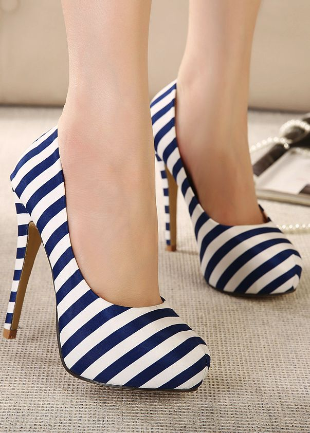 Stripes high heel shoes, Amazing way to put a pop in a basic outfit.
