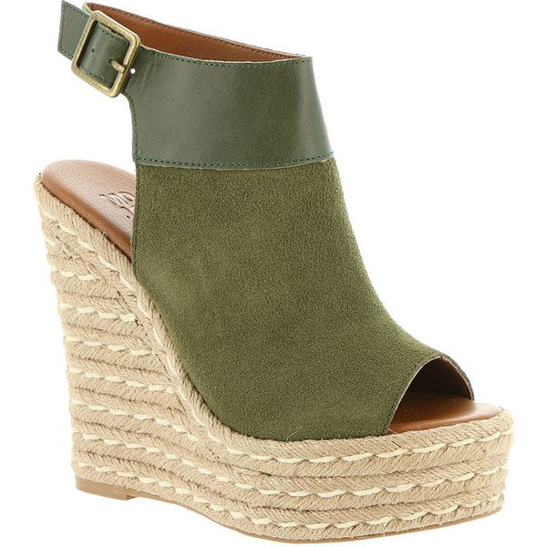 Mojo Moxy Omega Women's Green Sandal 8.5 M (295 BRL) ❤ liked on Polyvore featuring shoes, sandals, heels, wedges, green, platform espadrilles, ankle strap wedge sandals, heeled sandals, espadrille sandals and suede wedge sandals