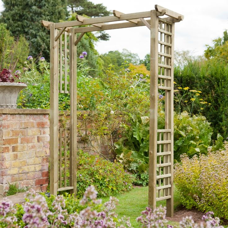 The Forest Garden Berkeley Square Wooden Garden Arch Is A Traditional  Square Garden Arch With Pergola Styled Roof Beams And Square Trellis Side  Panels That ...