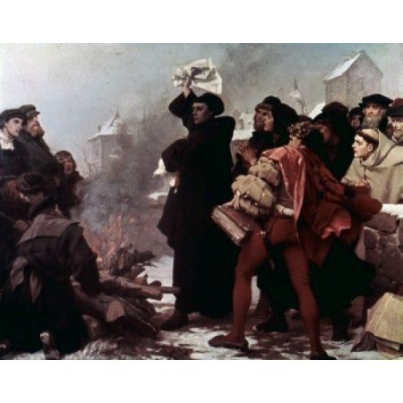 Martin Luther Burning the Papal Bull Thumann Freidrich Paul (1834-1903German) Canvas Art - Thumann Freidrich Paul (24 x 36)