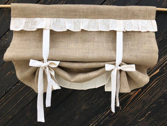 burlap curtains ruffled country kitchen tie up valance rustic primitive window french country on farmhouse kitchen curtains id=78469
