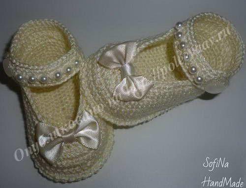 Пинетки-туфельки (вязание крючком, мастер-класс)