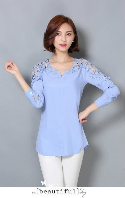 bbccbfe888b Women Lace Decorated Sleeve V-neck Casual Wear Linen Fabric Plus Size Blouse   fashion  clothing  shoes  accessories  womensclothing  tops