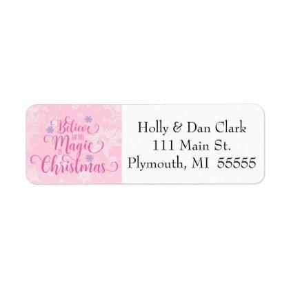 #Pink Snowflake Address Label - #Xmas #ChristmasEve Christmas Eve #Christmas #merry #xmas #family #kids #gifts #holidays #Santa