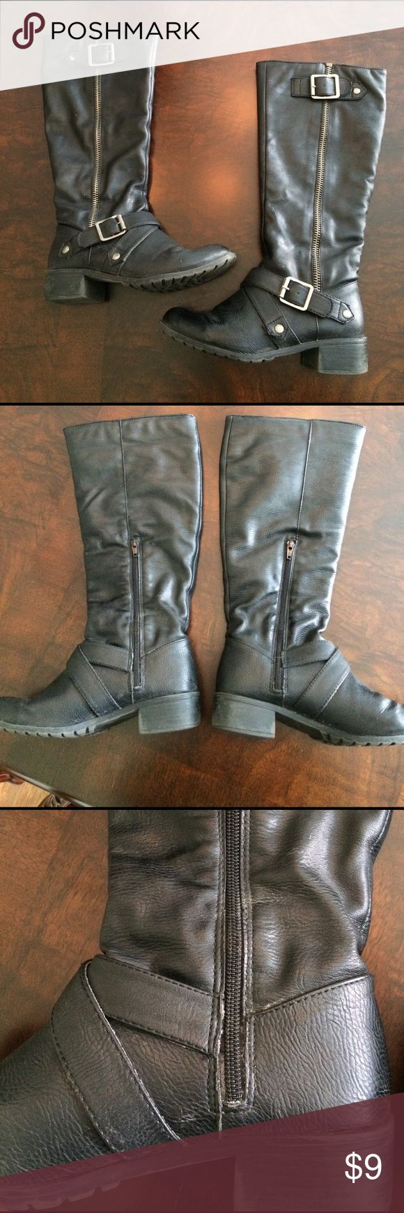 Black biker boots, 6.5 Black tall biker boots from Kohls. Show wear. Some marks/dirt, scuffs and little cracking on front of each boot. Man made materials. Size, 6.5. kohls Shoes Heeled Boots
