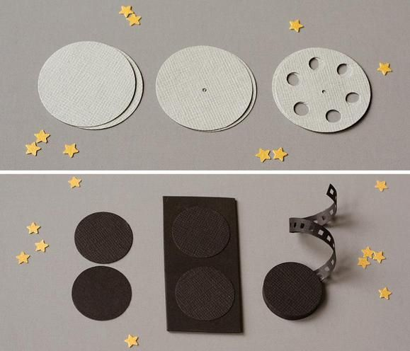DIY film reel http://www2.fiskars.com/Crafting/Projects/Entertaining-Parties/Decorations/A-Party-for-the-Stars-Oscar-Night