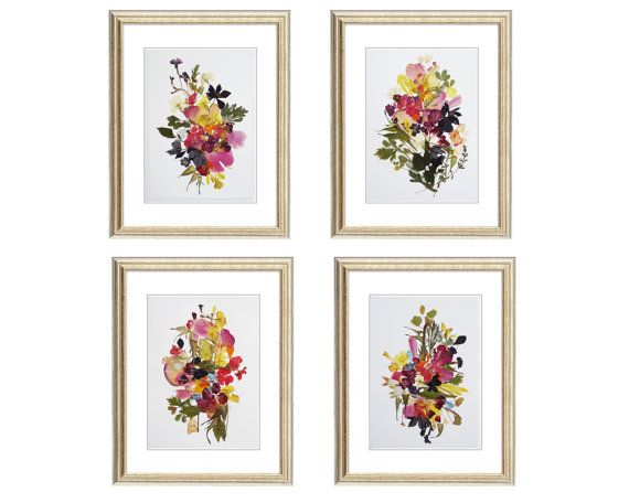 set of 4 prints botanicals prints herbarium pressed flower art botanical print set dried flowers wall