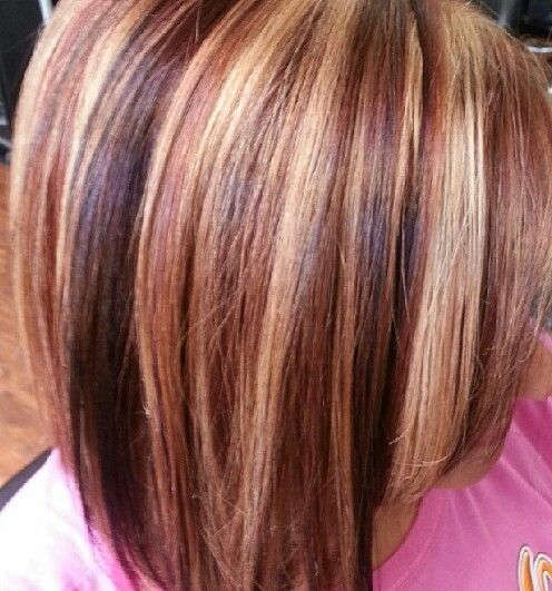 Chocolate brown, caramel, blonde and copper highlight/lowlight mix! Hair color