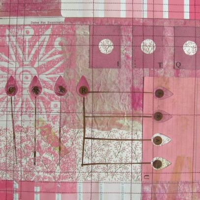"""dates for examination - paper quilt, 10"""" x 10"""". vintage wallpaper, graph paper, paint samples and file card."""
