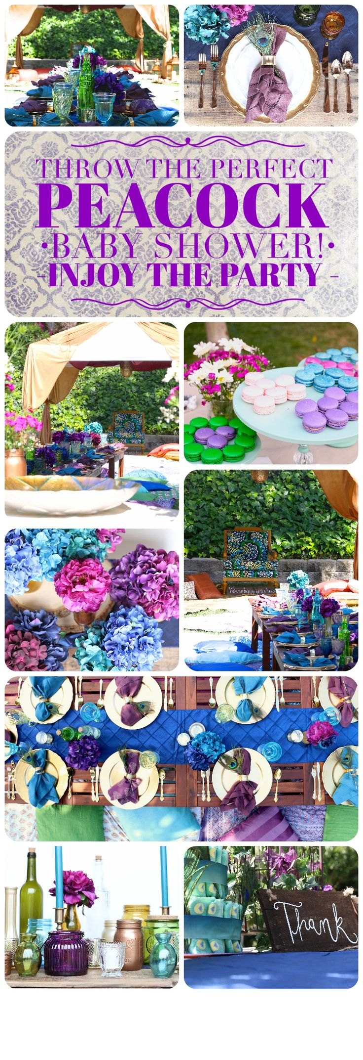 Everything you need to throw the perfect Peacock Baby Shower or Bridal Shower! This entire collection can be yours to rent! Low tables, pillows, blankets, place settings, jewel tones, royal purple, blue, and green decor... & flowers included!  Feeling like a Goddess with @inJOYtheParty!