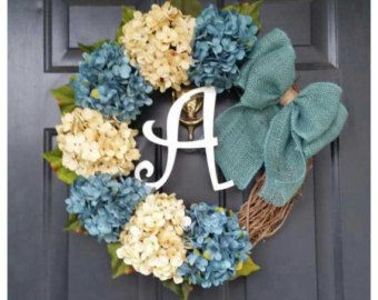 spring wreath turquoise hydrangeas with pale by AutumnWrenDesigns