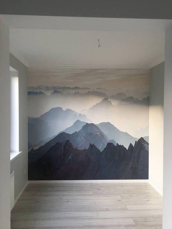 Mystical Mountains Mural Misty Mountain Shadow Hazy Etsy Mountain Mural Wallpaper Walls Decor Mural Wallpaper