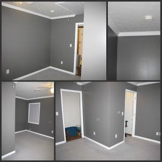 Grey walls, white trims, grey carpet, example of too dark.  I want to avoid this look