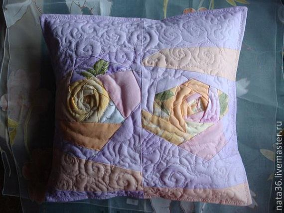 Quilted  patchwork pillowcase Morning by NaTrosinoQuiltForAll
