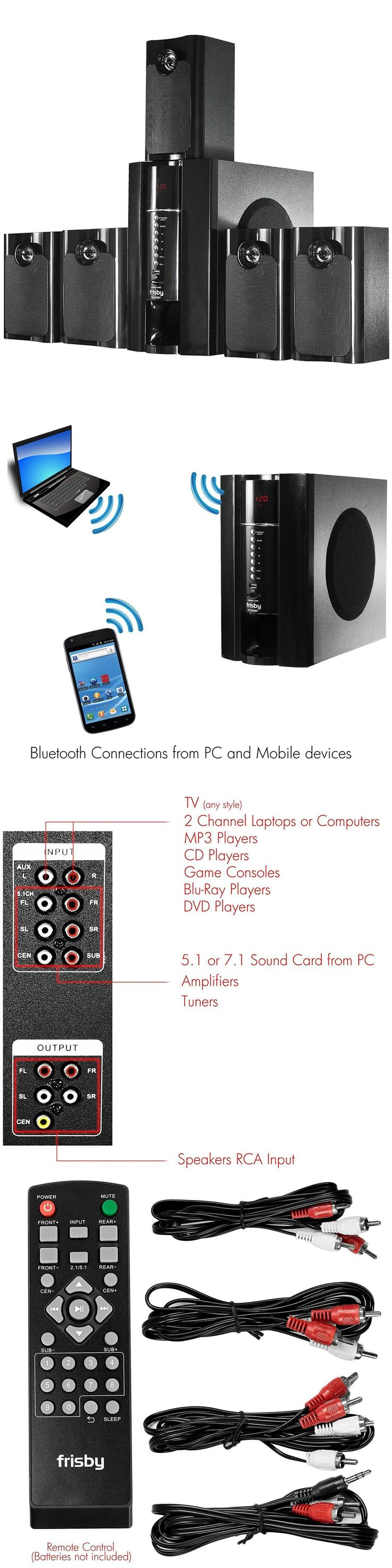 Home Speakers and Subwoofers: 5.1 Bluetooth Surround Sound Speaker System Subwoofer Wireless Home Theater New BUY IT NOW ONLY: $158.38