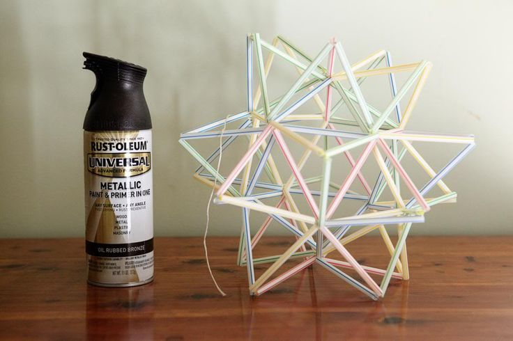 geometric shape made from drinking straws.