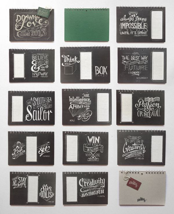 Chalkboard Lettering Stationery Set by Lisa Nemetz, via Behance