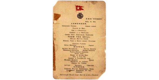 The Titanic's Last Surviving Lunch Menu Is Up for Sale  - HouseBeautiful.com