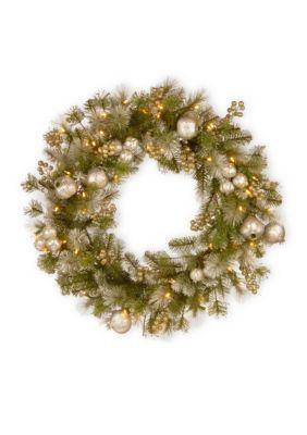 National Tree Company Glittery Pomegranate Pine Wreath - Green - 30