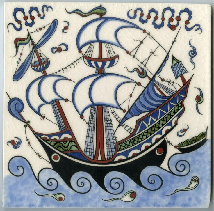 Our volunteer Nicholas Riley produces stunning reproductions of De Morgan and Iznik designs. We can't get enough of this galleon tile!