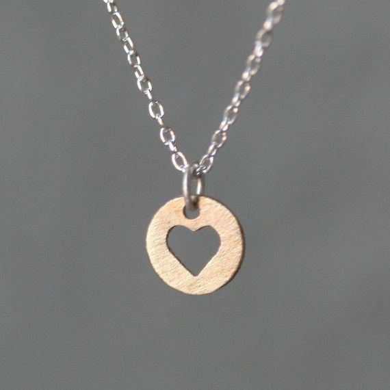 Heart Cutout Necklace in 14K Gold and by MichelleChangJewelry