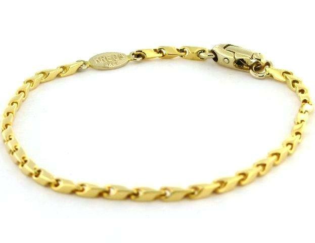 Bracciale da Uomo in oro massiccio 18 kt con chiusura a moschettone 21 cm di lunghezza