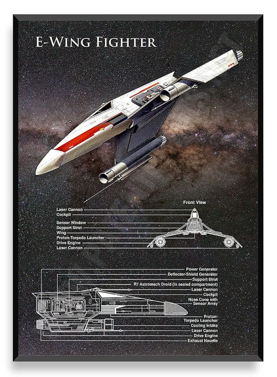 E-Wing Fighter Poster Star Wars Ship Star by PatentPrintsPosters