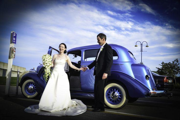 Brides wedding car...beautiful blue skin and car