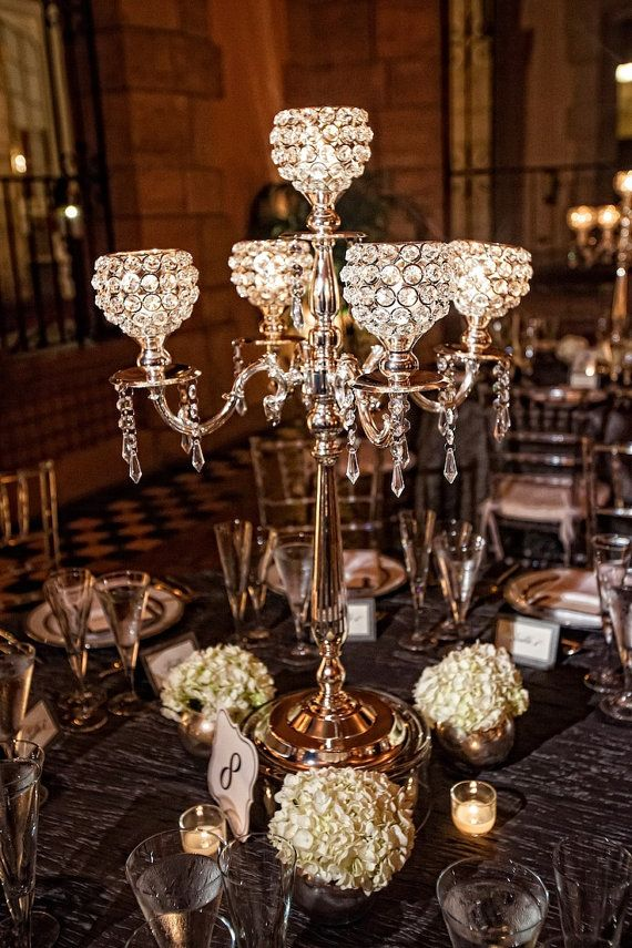 5 Arm Crystal Candelabra Centerpiece Wedding Hanging Crystals Votive Holders Crystal Sale Candle Holders Romantic Bling Event Decor Globe
