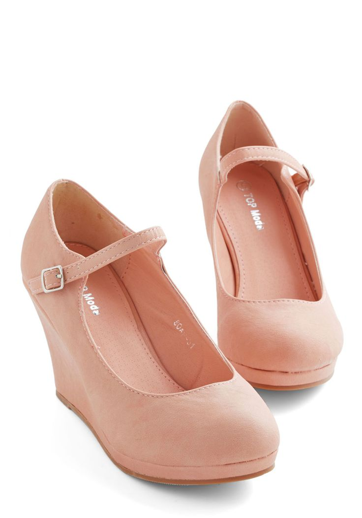 Who Neutral? Wedge in Blush. You never anticipated how quickly these peachy pink wedges would become a weekly go-to! #pink #modcloth