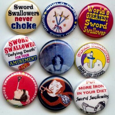 Sword Swallowing Swallowing circus act Pinback button set by Yesware11 on Etsy!