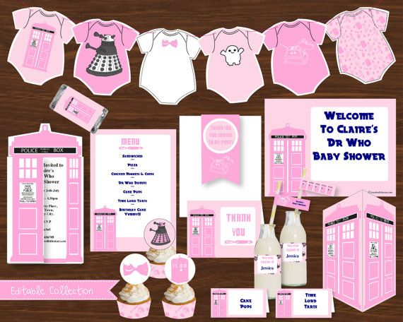 Dr Who Baby Shower Pink DIY Printable Kit - INSTANT DOWNLOAD - Dr Who Inspired