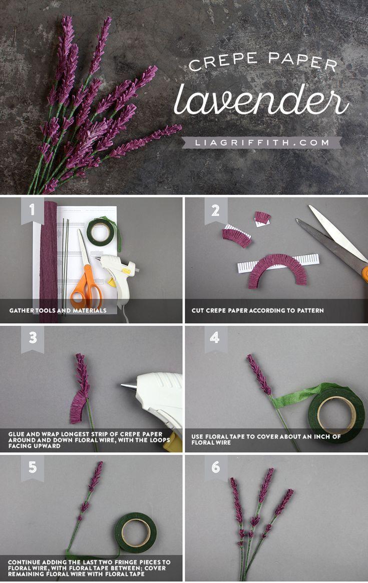Erfahren Sie, wie man einfache Crêpe-Papier-Lavendelzweige macht
