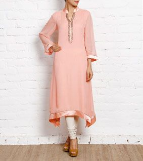 Pink Hand Embellished Georgette Tunic