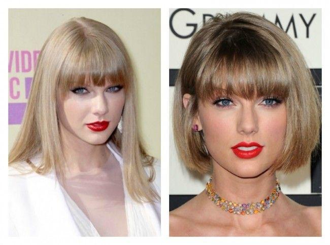 Taylor Swift con capelli lunghi prima e capelli corti dopo