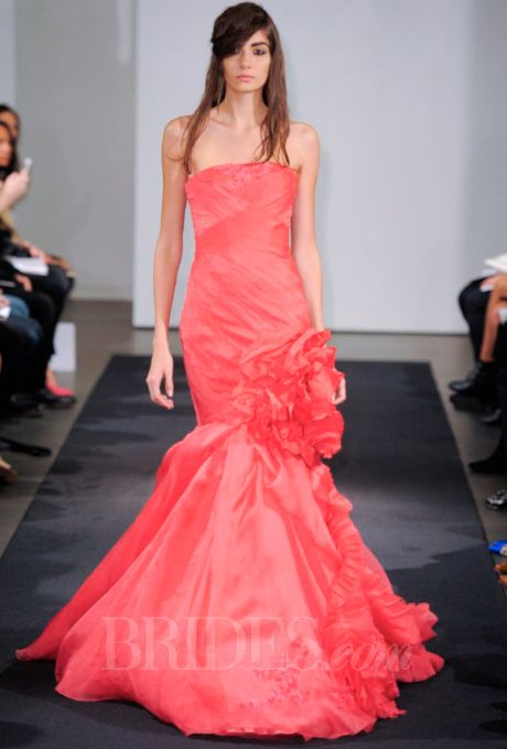 Brides.com: Vera Wang Coral Wedding Dress from Fall 2014 Collection | Click to see more from this collection!