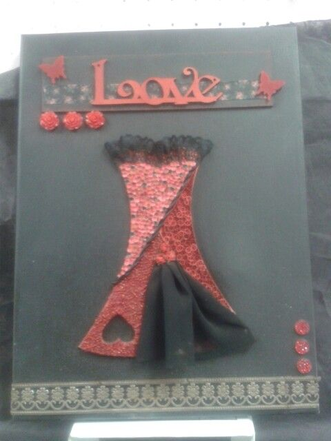 Mixed media - quilling, olba with metal lace strip.