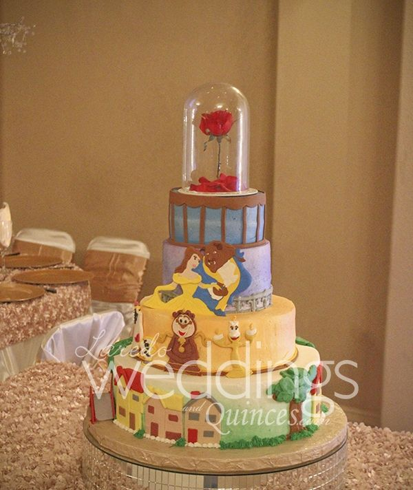Beautiful elegant Beauty and the Beast theme quinceanera #cake #beautyandthebeast #colorful # ...