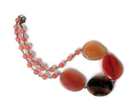 bead necklace  multicolor agate stone necklace wire wrapped