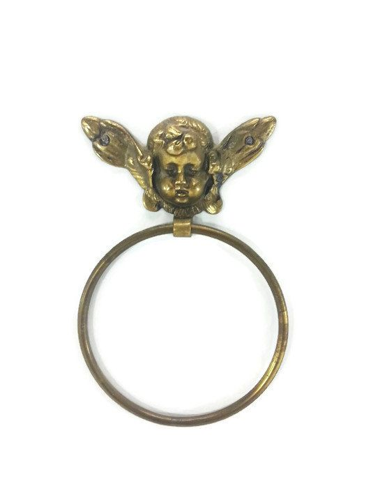Vintage Brass Angel Towel Holder Cherub Towel by EclecticEmbrace
