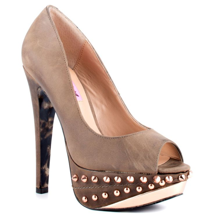 taupe leather upper and 5 inch stiletto heel top stitching decorates the studded 1 inch platform wallpaper and background photos of betsy johnson ramma