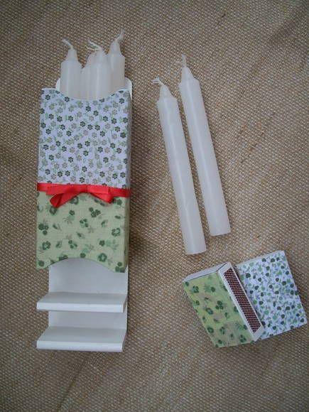 O Kit Apagão te ajudará a encontrar as velas mesmo no escuro. É que ele pode ser pendurado na parede e já vem com duas caixinhas de fósforos decoradas.  Pode ser feito em diferentes cores, pintado ou forrado com tecido.  Ótimo presente!