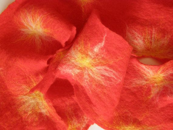 Festive Fireworks - long fiery red woolen felt scarf with bright stars in the white and yellow of merino wool by LanAArt
