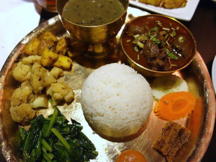 Traditional thakali thali sets at restaurant nepal for Kitchen set in nepal