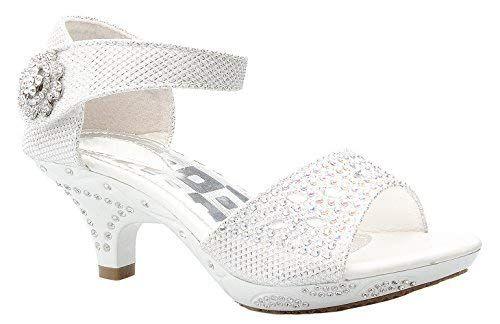 4bf5d11b9b8 OLIVIA K Girls Sparkly Rhinestone Kitten Heel Platform Dress Sandals ...