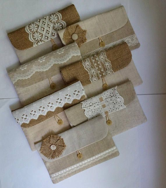 Rustic white Set of 7 burlap/ hessian and white lace
