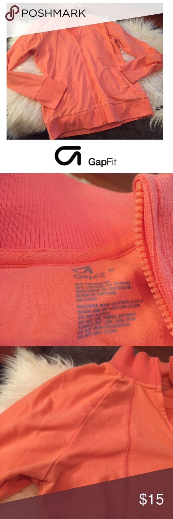 GAP Fit Sorbet Orange Zip Up Sweatshirt GAP Fit Sorbet Orange Zip Up Sweatshirt. 18 inch bust. 25 inches long. Gently worn. Great condition. Feel free to make an offer or bundle & save! GAP Tops Sweatshirts & Hoodies