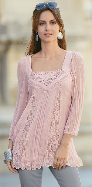 Together Lace Trim Crinkle Top