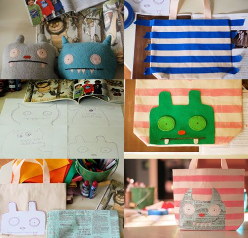 Monster totes.  I intend to do this with inexpensive, colorful craft totes from the Dollar Store (2-3 for a buck) and use them for my daughter's Monster Bash party.